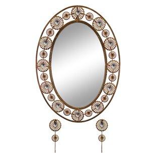 Red Barrel Studio Malott Elegant Bejeweled Oval Accent Wall Mirror