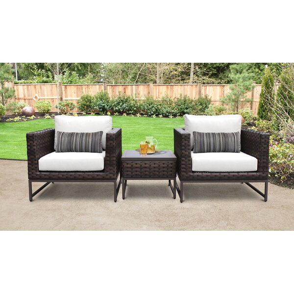 Barcelona Outdoor 3 Piece Seating Group with Cushions by TK Classics