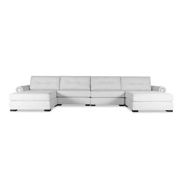 Discover Outstanding Designer Willia Buttoned U-Shape Double Chaise Modular Sectional by Three Posts by Three Posts