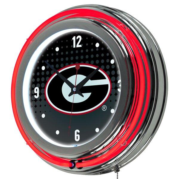 University of Georgia Neon 14.5 Wall Clock by Trademark Global