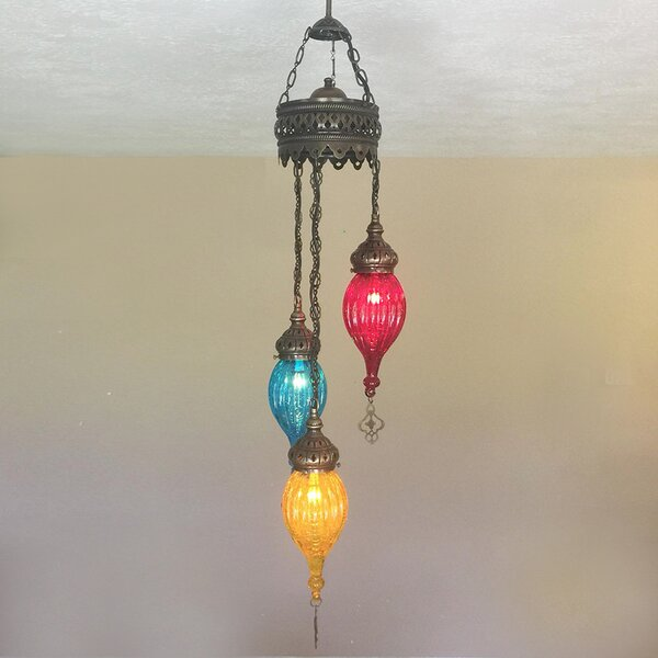 Hanging Ceiling Mosaic LED Chandelier by Woodymood