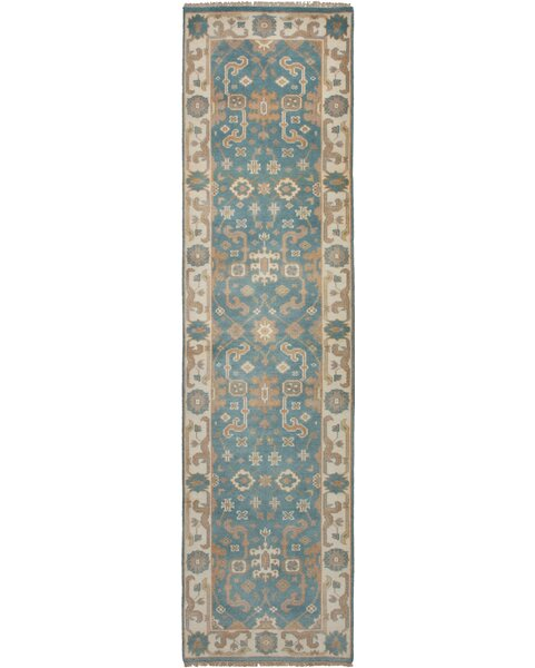 One-of-a-Kind Eile Hand-Knotted Wool Sky Blue Area Rug by Isabelline