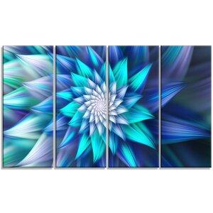 'Large Blue Alien Fractal Flower' Graphic Art Print Multi-Piece Image on Canvas by Design Art