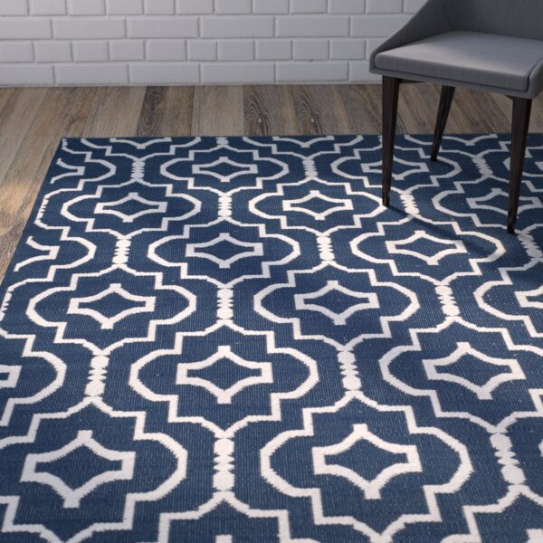 Rennie Hand-Woven Navy/Ivory Area Rug by Wrought Studio