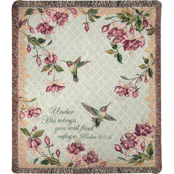 Rubys Among the Fuchsias Verse Tapestry Cotton Throw by Manual Woodworkers & Weavers