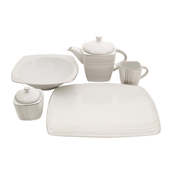 Geometric Square Fine China Traditional Serving 5 Piece Dinnerware Set by Shinepukur Ceramics USA, Inc.