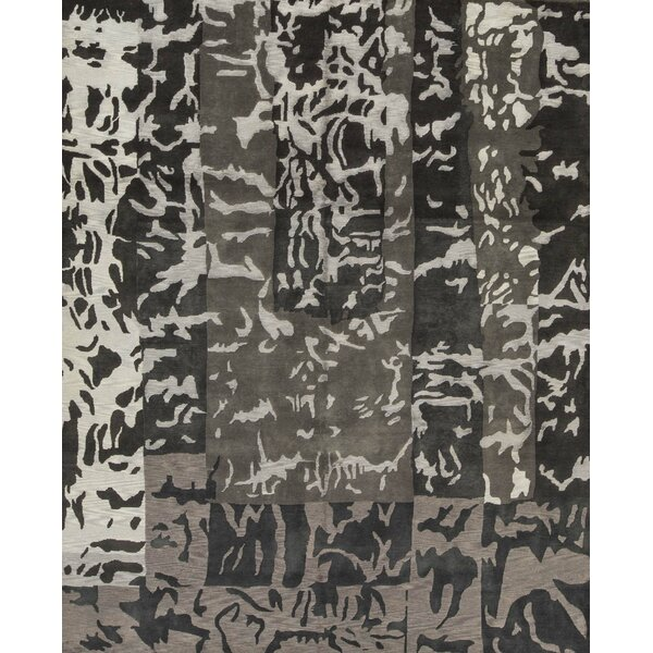 One-of-a-Kind Abstract Hand-Knotted 8' X 9'9 Gray Area Rug
