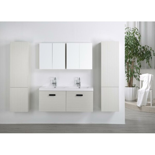 47 Wall Mounted Double Bathroom Vanity Set with Mirror by Streamline Bath