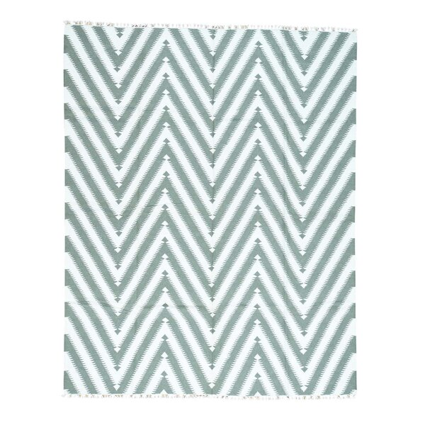 Zigzag Kilim Flat Weave Oriental Hand-Knotted Ivory Area Rug by Ivy Bronx
