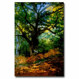 'Bodmer Oak Fontainebleau Forest' by Claude Monet Painting Print on Wrapped Canvas by Trademark Fine Art