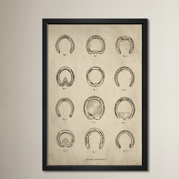Antique Horseshoes Framed Painting Print by Three Posts