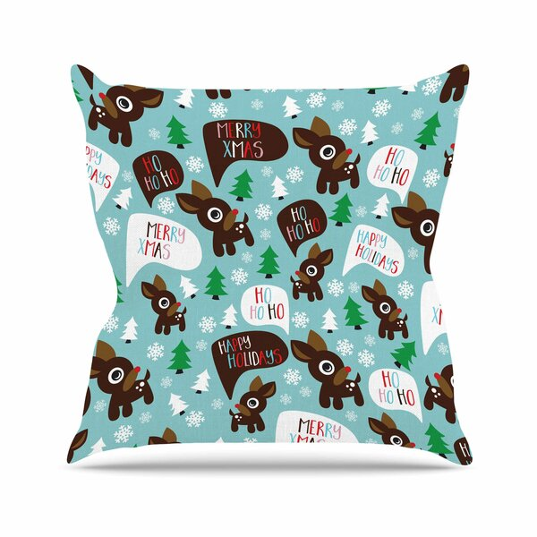 Cheerful Reindeer Outdoor Throw Pillow by East Urban Home