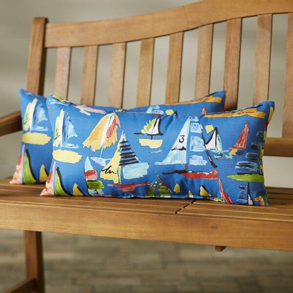 Wallon Knife Edge Indoor/Outdoor Lumbar Pillow (Set of 2) by Longshore Tides
