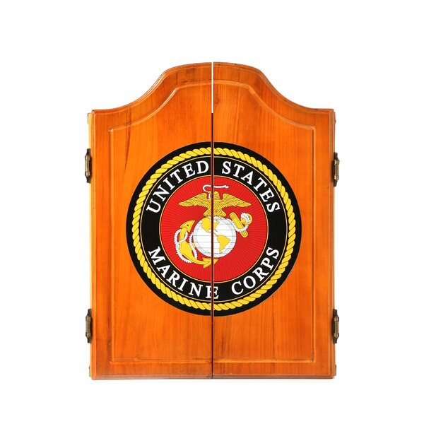 United States Marine Corps Wood Dart Cabinet Set by Trademark Global