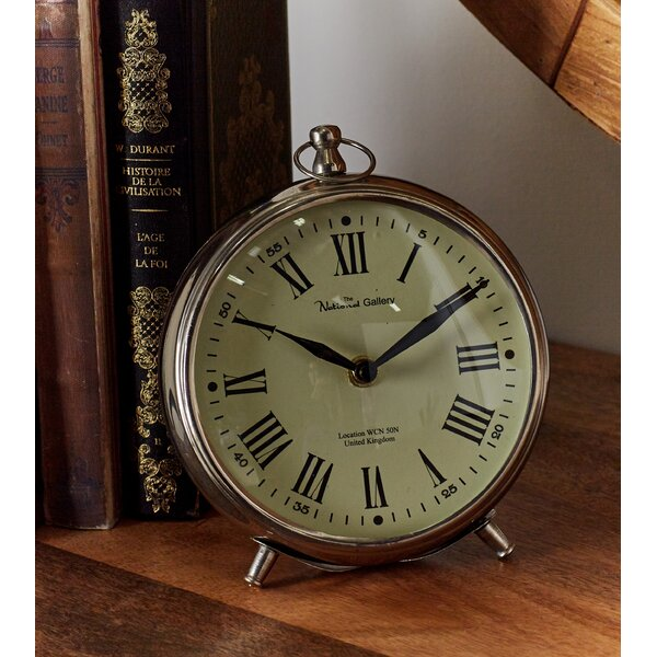 Round Metal Table Clock by Beachcrest Home
