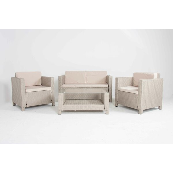 Destinee 4 Piece Rattan Sofa Seating Group with Cushions by Rosecliff Heights