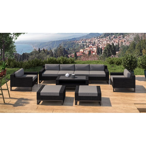 Stivers 9 Rattan Piece Sectional Seating Group with Cushions by Ebern Designs