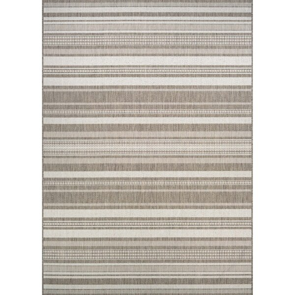 Anguila Stripe Gray/Beige Indoor/Outdoor Area Rug by Beachcrest Home