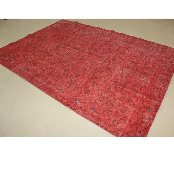 Vintage Hand-Knotted Red Area Rug by Wildon Home ®