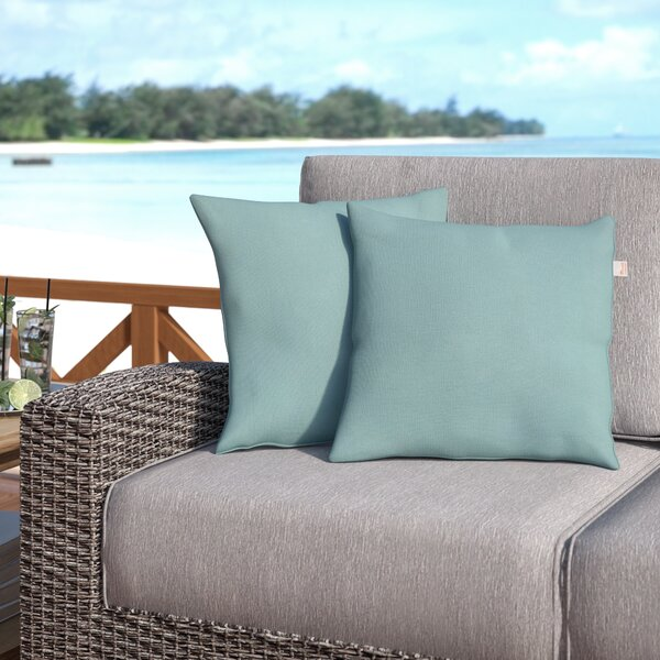 Livia Spa Outdoor Sunbrella Throw Pillow (Set of 2) by Longshore Tides
