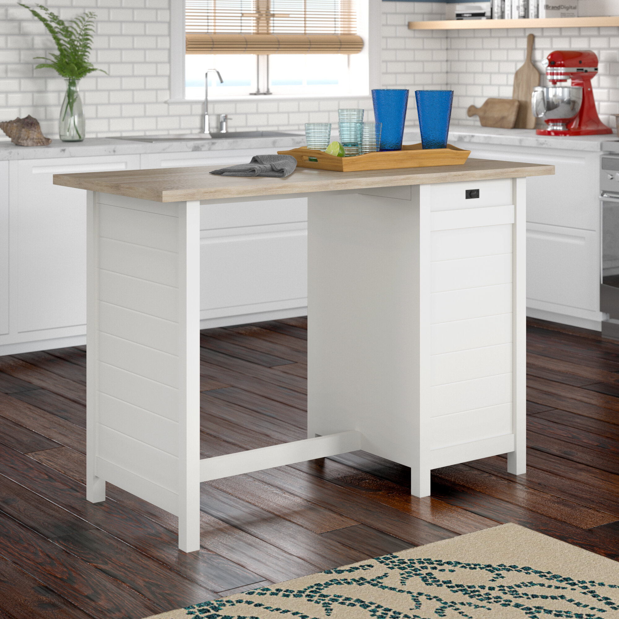 Beachcrest Home Hampton Kitchen Island With Lintel Oak Top Reviews Wayfair