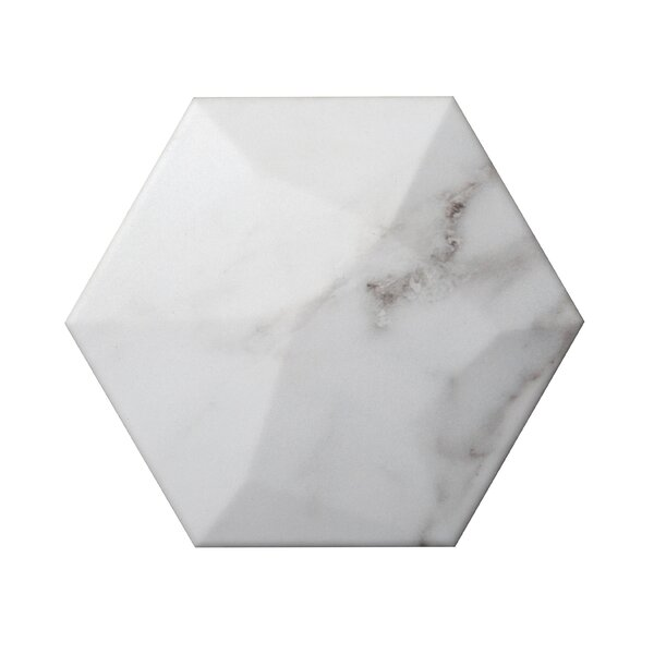 Code Hex High 6 x 7 Ceramic Field Tile in Calacata by Emser Tile
