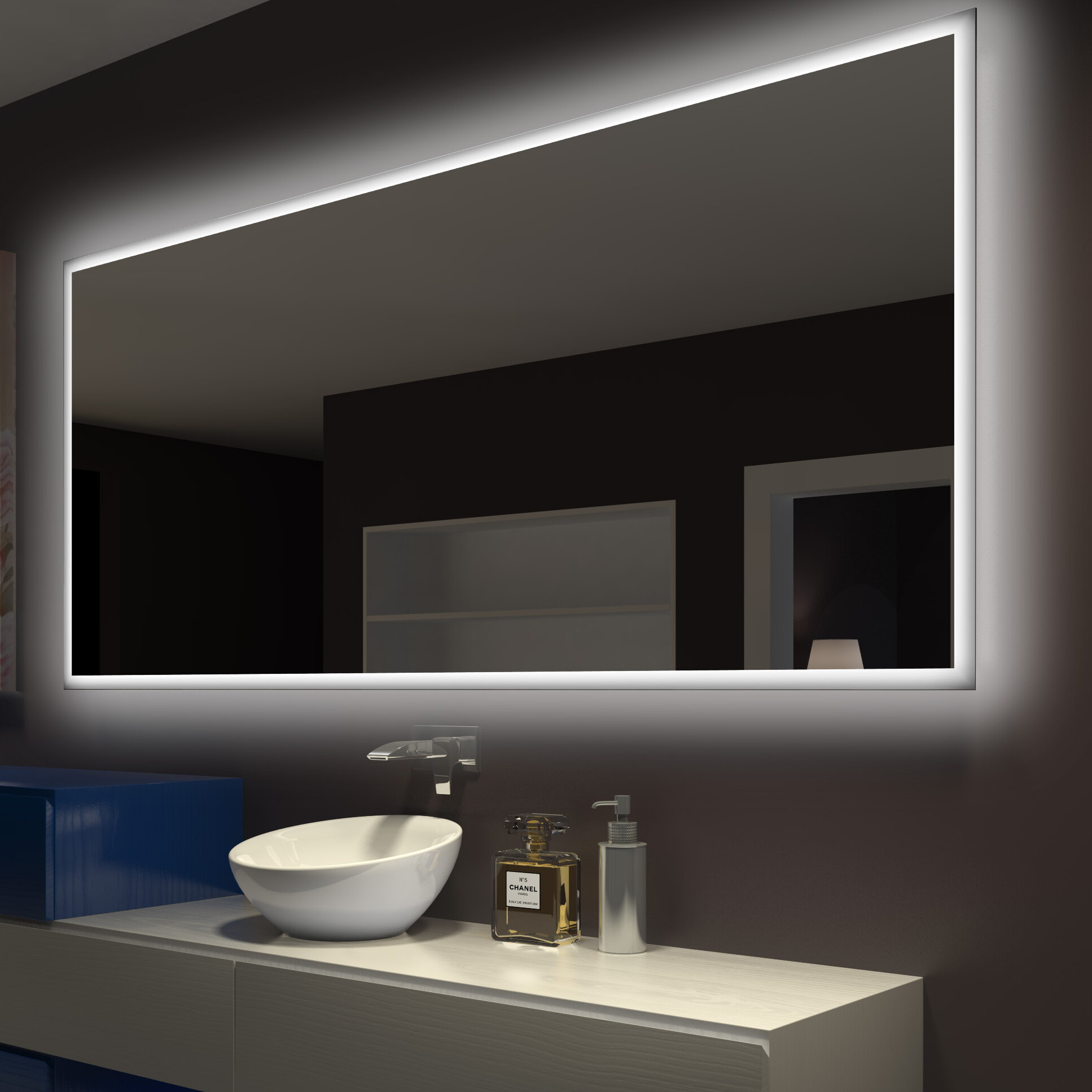 Rectangle Backlit Bathroom Vanity Wall Mirror