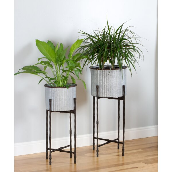 Verret Modern Farmhouse 2-Piece Aluminum Pot Planter Set by Gracie Oaks