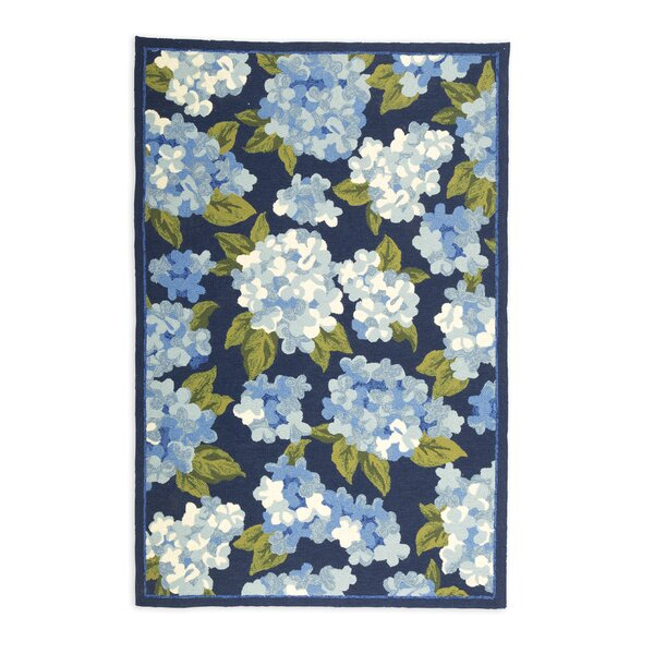 Hydrangeas Hand Hooked Blue Area Rug by Plow & Hearth