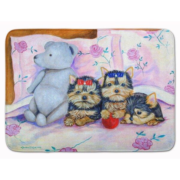 Yorkie Puppies Three in a row Memory Foam Bath Rug by East Urban Home
