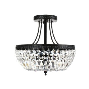 Affordable Mckeever Crystal Basket 3-Light Semi Flush Mount By House of Hampton