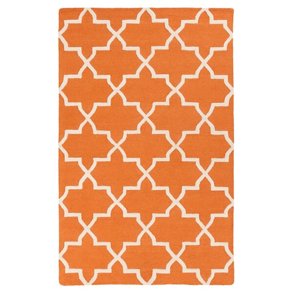 Blaisdell Kelly Hand-Tufted Wool Orange Area Rug by Charlton Home