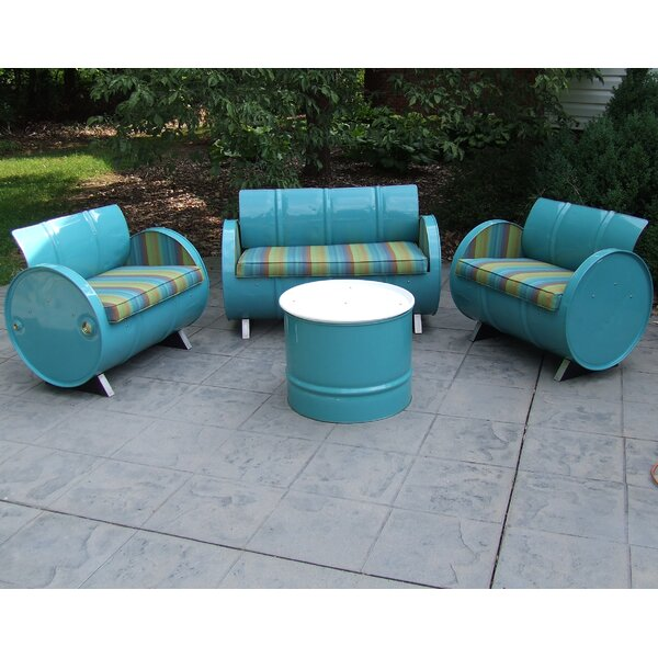 Astoria Lagoon 4 Piece Sunbrella Sofa Set with Cushions by Drum Works Furniture