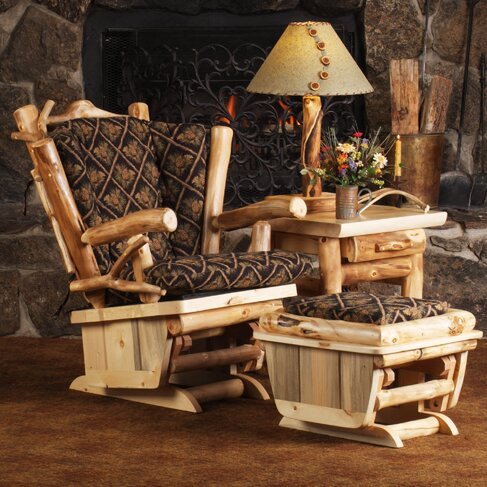 Aspen Heirloom Twig Art Glider and Ottoman by Mountain Woods Furniture