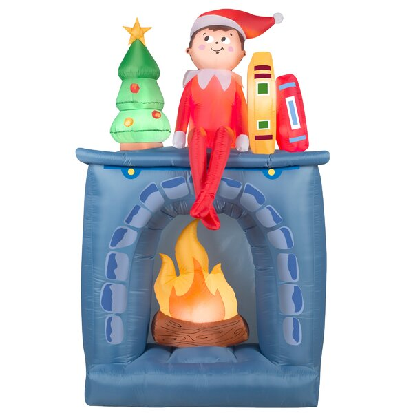 Elf and Fireplace Inflatable by The Holiday Aisle