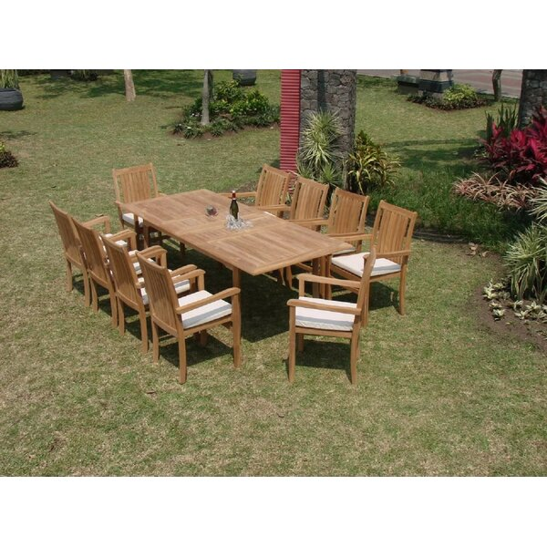 Kory Luxurious 11 Piece Teak Dining Set by Rosecliff Heights