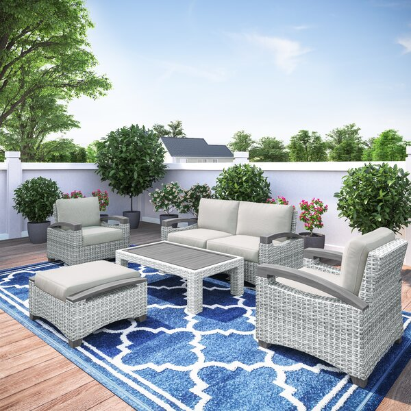 Dorrington Outdoor 5 Piece Sofa Seating Group with Cushions by Rosecliff Heights