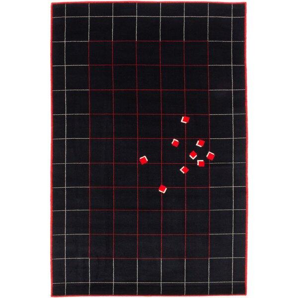 Bressler Wool Black/Red Area Rug by Latitude Run