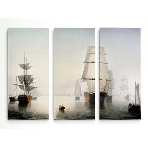 'Boston Harbor' Acrylic Painting Print Multi-Piece Image on Gallery Wrapped Canvas by Breakwater Bay