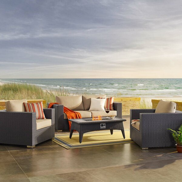 Brentwood 4 Piece Rattan Sectional Seating Group with Cushions by Sol 72 Outdoor Sol 72 Outdoor
