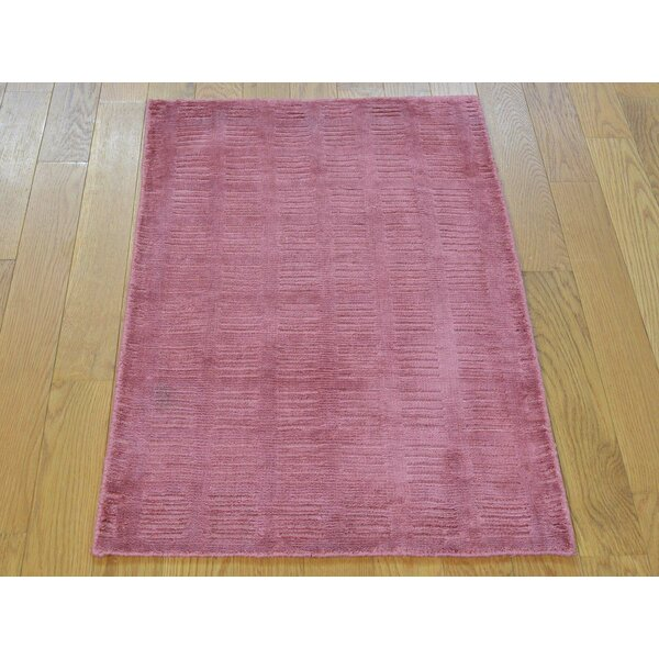 One-of-a-Kind Bean Art Handwoven Pink Silk Area Rug by Isabelline
