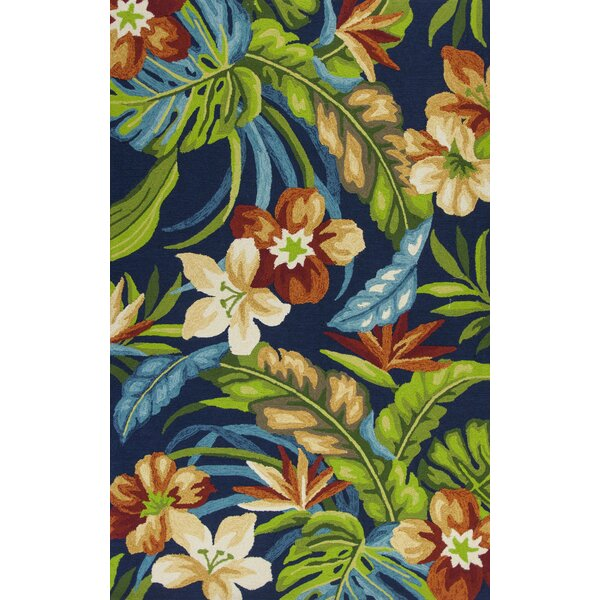 Malvern Tropics Hooked Blue/Green Indoor/Outdoor Area Rug by Bay Isle Home