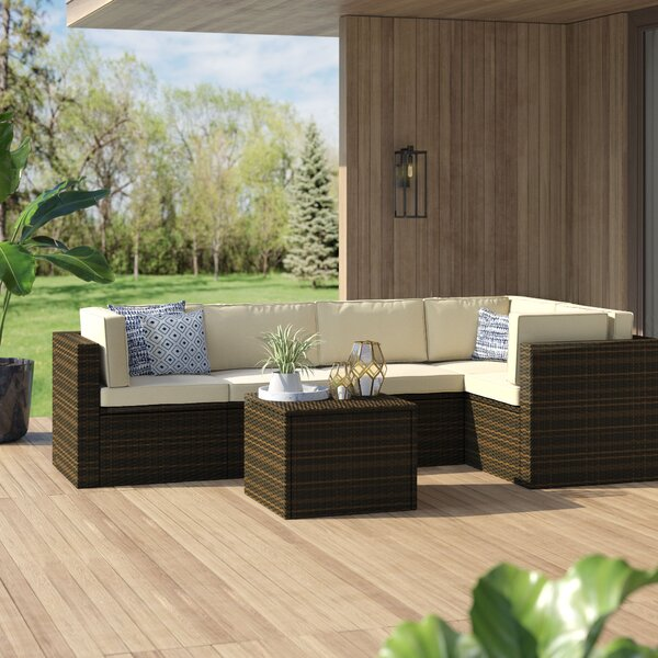 Belton 5 Piece Rattan Sectional Set with Cushions by Mercury Row