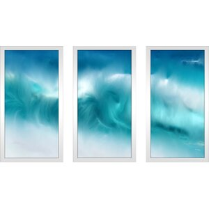 'Blue Ocean Waves on the Beach Panoramic' Framed Acrylic Painting Print Multi-Piece Image on Glass by Latitude Run