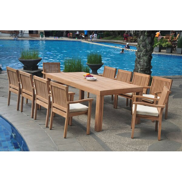 Quickep 11 Piece Teak Dining Set by Rosecliff Heights