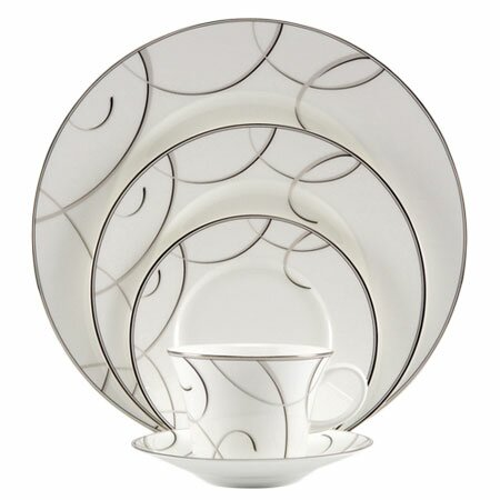 Elegant Swirl Bone China 5 Piece Place Setting, Service for 1 by Nikko Ceramics