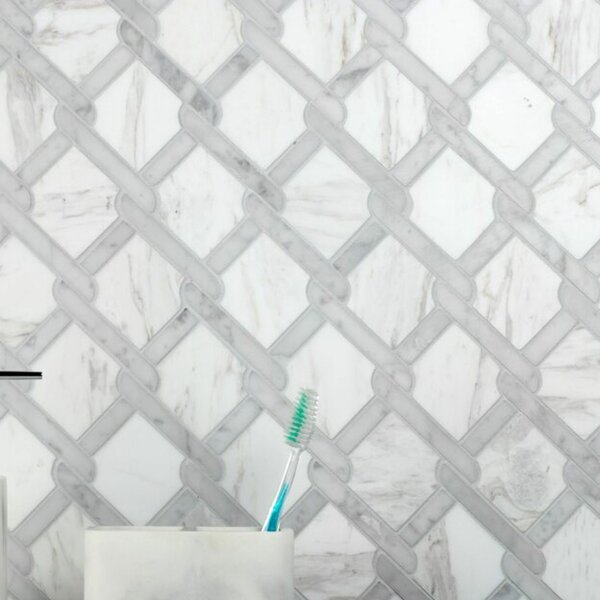 Carrara Fishing Net 12 x 12 Natural Stone Mosaic Sheet Tile
