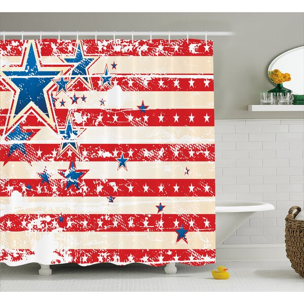 Star and Horizontal Stripes Decor Shower Curtain by East Urban Home
