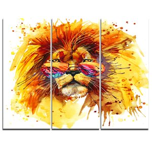 The King Watching - 3 Piece Painting Print on Wrapped Canvas Set by Design Art