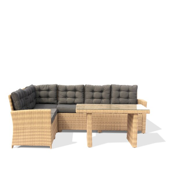 Kerr Outdoor 3 Piece Sectional Seating Group with Cushions by Rosecliff Heights